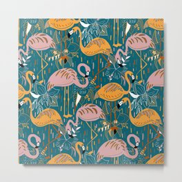 Flamingos On Blue Metal Print