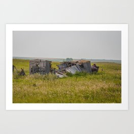 Crumbled Boxcar, Arena, North Dakota Art Print