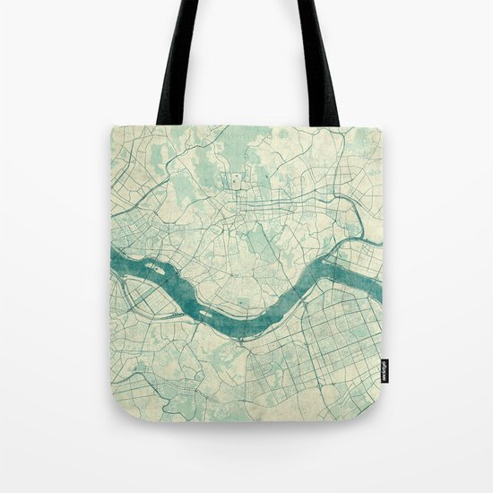 Seoul Map Blue Vintage Tote Bag
