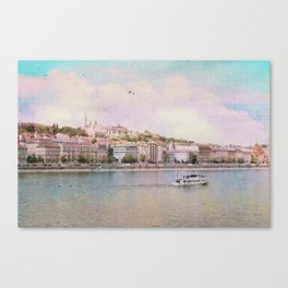 Dreamy Riverboat Cruising the Danube River in Budapest Canvas Print