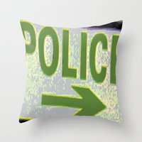 police Throw Pillows featuring police by XiXi