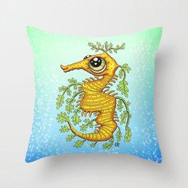 Happy Leafy Sea Dragon Throw Pillow