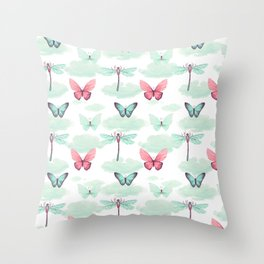 Pink teal watercolor clouds dragonfly butterfly pattern Throw Pillow