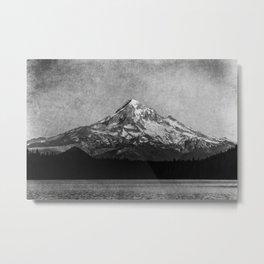 Mt Hood Black and White Vintage Nature Photography Metal Print