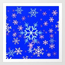 DECORATIVE BLUE  & WHITE SNOWFLAKES PATTERNED ART Art Print