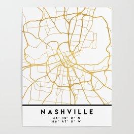 NASHVILLE TENNESSEE CITY STREET MAP ART Poster