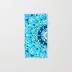 Blue Ice Glass Mandala, Abstract Aqua Lace Hand & Bath Towel