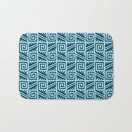 Ikat Aztec Tribal, Indigo and Light Blue Bath Mat