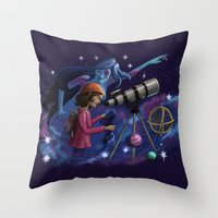astronomy Throw Pillows featuring Muse of Astronomy by Jessica Chrysler