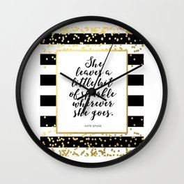 Inspirational Quote She Leaves A Little Sparkle Wherever She Goes Hustle Quote Print Kate Spade  Wall Clock