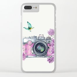 Camera with Summer Flowers 2 Clear iPhone Case