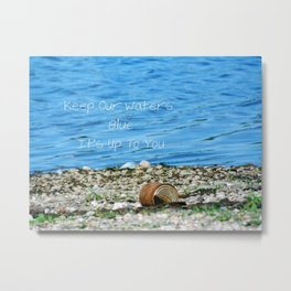 Rusty Can and Blue Water Metal Print