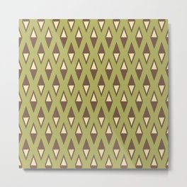 Classic Diamond and Stripes Pattern 240 Olive Green Brown and Beige Metal Print
