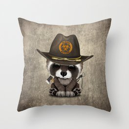Baby Raccoon Zombie Hunter Throw Pillow
