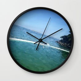 Summertime in Dinard, the pool. Wall Clock