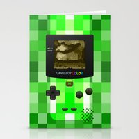 warcraft Stationery Cards featuring Gameboy Color Green Creeper by Veylow