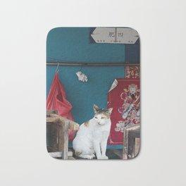 Cat in Blue & Red Bath Mat