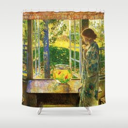 Classical Masterpiece 'The Goldfish Window' by Frederick Childe Hassam Shower Curtain