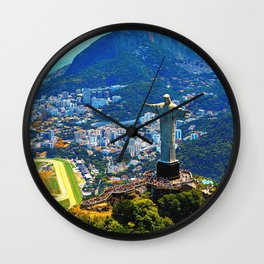 Beautiful Aerial view of Rio de Janeiro with Christ Redeemer and Corcovado Mountain - Brazil Wall Clock