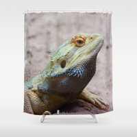 lizard Shower Curtains featuring Lizard by WonderfulDreamPicture