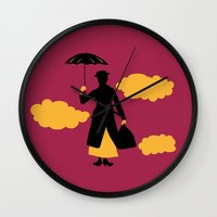 mary poppins Wall Clocks featuring Mary Poppins by FilmsQuiz
