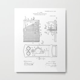 Telephone Toll Vintage Patent Hand Drawing Metal Print