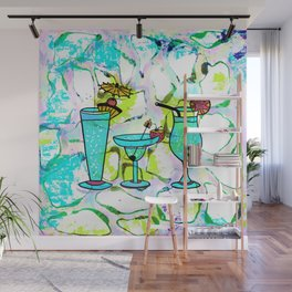 Summer Pool Party Cocktails , Watercolor Painting in Aqua Tequila Sunrise Colors Wall Mural
