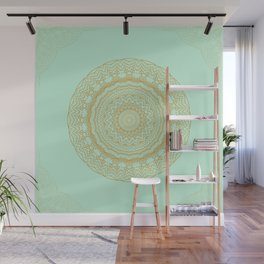 Mandala Lace in Gold and Mint Wall Mural