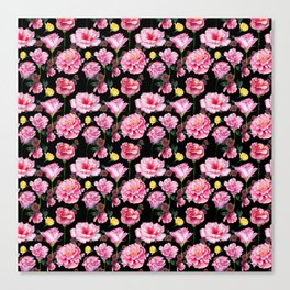 Modern pink green yellow watercolor roses pattern Canvas Print