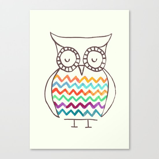 Chevron Owl Canvas Print