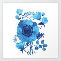 blues Art Prints featuring BLUES by Oana Befort