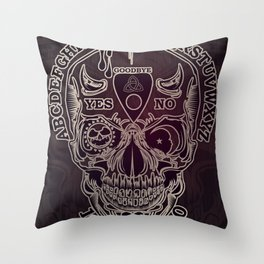 Ouija Skull Throw Pillow