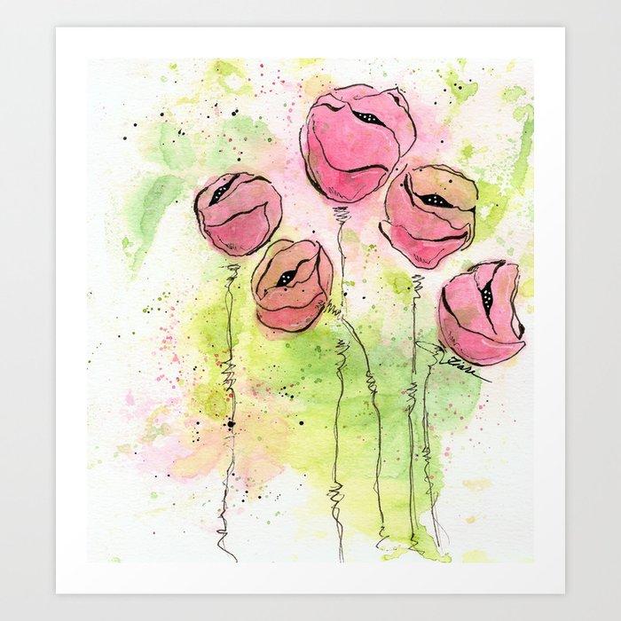 Pink and Green Splotch Flowers Art Print