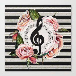 Treble Clef with Watercolor Roses Canvas Print