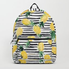 fresh pineapples on stripes watercolor Backpack