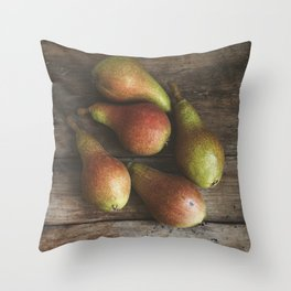 Ripe pears on the table Throw Pillow