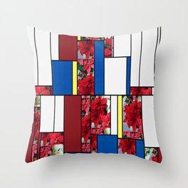 Mixed color Poinsettias 1 Art Rectangles 4 Throw Pillow