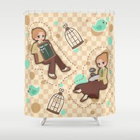 bioshock Shower Curtains featuring Bioshock Infinite - Luctece Twins by Choco-Minto