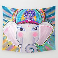 ganesha Wall Tapestries featuring Jai Ganesha  by Paola Gonzalez