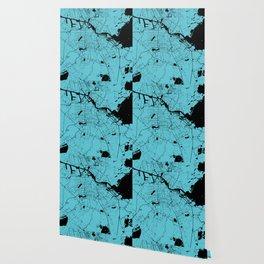 Amsterdam Turquoise on Black Street Map Wallpaper