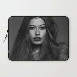 L.A. Confidential brunette French female portrait black and white photography - photographs wall decor Laptop Sleeve