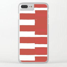 Big Stripes In Red Clear iPhone Case