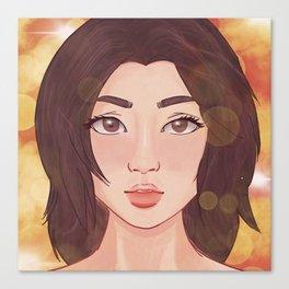 Brown Hair Starry Eyes Canvas Print