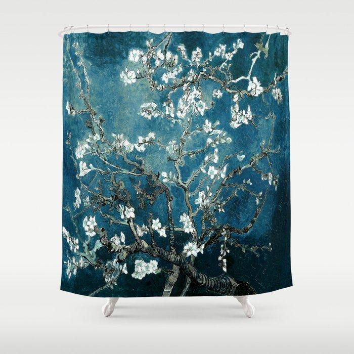 Van Gogh Almond Blossoms Dark Teal Shower Curtain