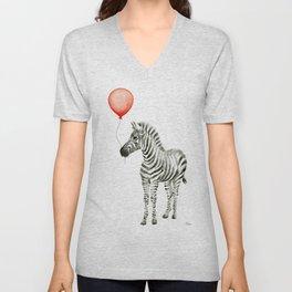 Baby Zebra with Red Balloon Unisex V-Neck