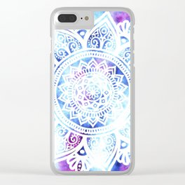 Purple and Blue Tied-Dye Mandala - LaurensColour Clear iPhone Case