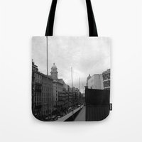 barcelona Tote Bags featuring Barcelona. by Michaëlis Moshe