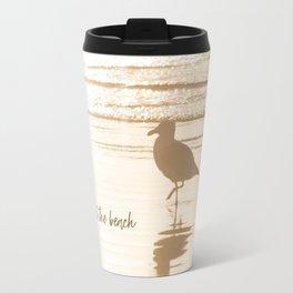 Meet Me at the Beach (typography) Travel Mug