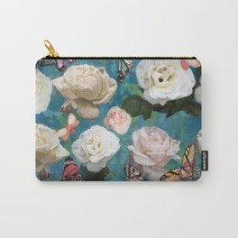 White Roses and Butterflies Carry-All Pouch