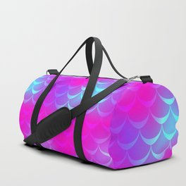 Pink and Blue Mermaid Tail Abstraction. Magic Fish Scale Pattern Duffle Bag